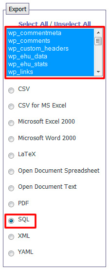 export select