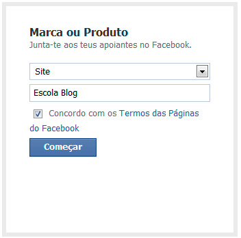 Facebook categorias nome